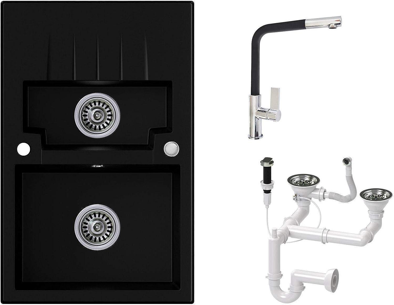 Granitspüle schwarz, Armatur 3000 - Hochdruck, 2-Becken, Drehexcenter + Siphon, Spülbecken, Küchenspüle, Schrankbreite ab 60 cm
