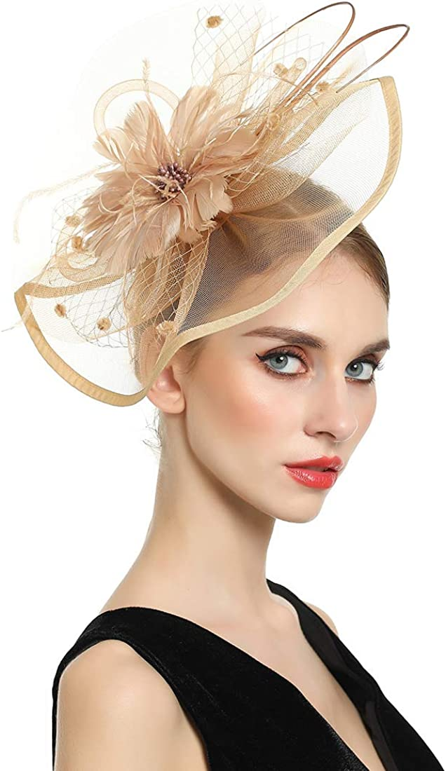 Very popular! MSmofei Fascinators Manufacturer regenerated product Hat Hair Clip W Cocktail Hairpin Feather