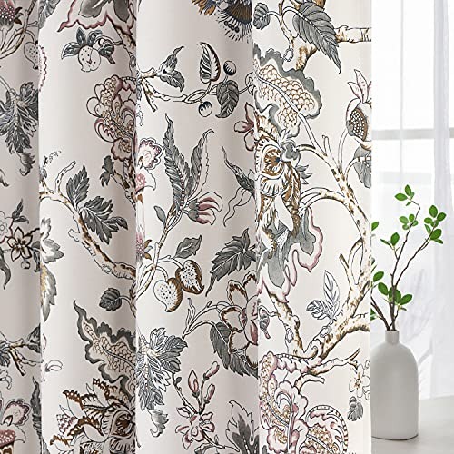 Blackout Curtains for Bedroom Thermal Insulated Room Darkening Grommet Curtains Panels Drapes for Living Room (Traditional Floral Pattern in Sage and Brown, 2 Panels, 52 by 84-Inch)