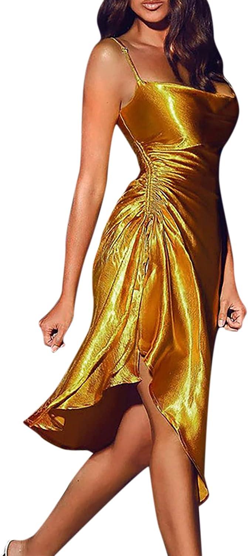 Women's Sexy Dress Spaghetti Strap Silk Satin Midi Dresses Backless Drawstring Ruched Split Hem Cocktail Party Clubwear