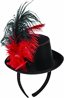 Forum Novelties 80460 Mini Top Hat with Feather Decoration, Red/Black, One Size