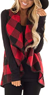 Womens Sleeveless Vest Plaid Hem Drape Open Front Cardigan