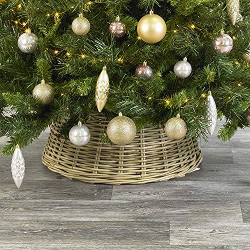 URBNLIVING Weihnachtsbaum-Rock, mittelgroß, aus natürlichem Bambus oder weißgetünchtetem Weidenholz, 26 x 50 x 50 cm Bambusfarben