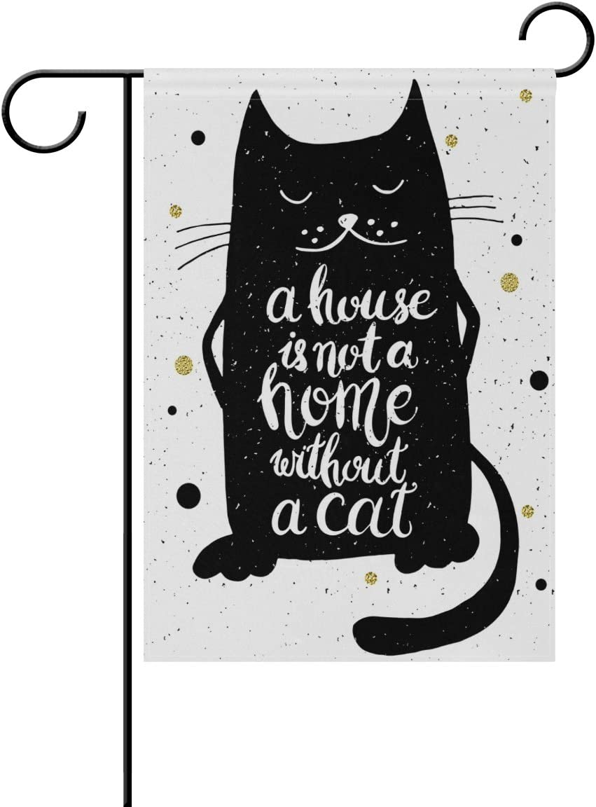 ALAZA Stylish Cute Be super welcome Black Cat 5 popular Banner Flag Garden House Polyester