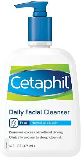 Cetaphil Face Wash, Daily Face Cleanser for Normal to Oily Skin, 16 oz (Pack of 2)