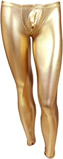 FEESHOW Men's Metallic PVC Faux Leather Tights Club Dance Long Pants Trousers