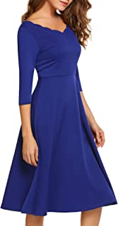 Hotouch Women 3/4 Sleeve Below The Knee Scallop V NeckVintage Cocktail Dress