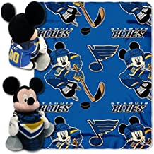 Northwest St Louis Blues NHL Mickey Mouse 40x50 Throw and Hugger Character Pillow Combo Set