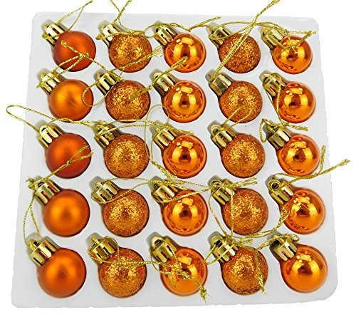 Christmas Concepts Packung mit 25 Glänzend, Matt & Glitter Mini Weihnachtsbaum-Flitter (Copper)