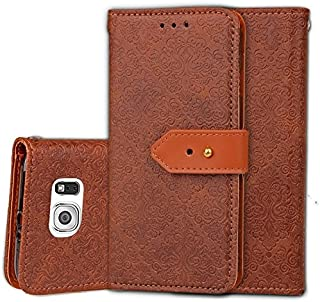 Protective Case Compatible with Samsung Magnetic Closure European Style Mural Embossed PU Leather Flip Wallet Case with Stand and Card Slot Compatible Samsung Galaxy S6 Phone case (Color : Brown)