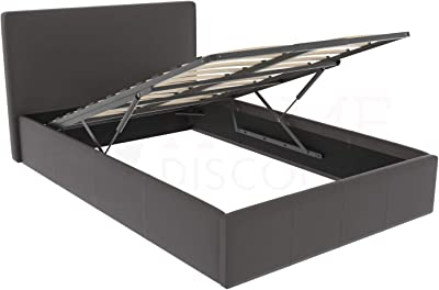 Phenomenal Ottoman Double Storage Bed Upholstered In Faux Leather 4Ft Short Links Chair Design For Home Short Linksinfo