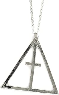 Triangle Cross Necklace Silver Tone NS18 Statement Trinity Pendant Fashion Jewelry