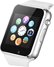 Smart Watch Touchscreen Bluetooth Smartwatch Wrist Watch Sports Fitness Tracker with SIM SD Card Slot Camera Pedometer Compatible iPhone iOS Samsung Android for Men Women Kids (White)