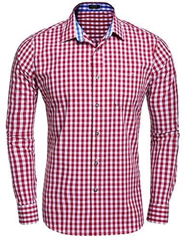 Coofandy COOFANDY Herren Hemd Kariert Cargohemd Trachtenhemd Baumwolle Freizeit Regular Fit