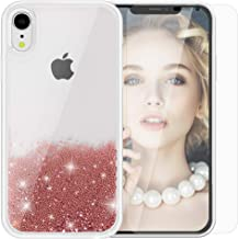 SanLead Phone Case for iPhone XR Quicksand Electroplated Beads Cover for Girls Anti-Scratch Shockproof TPU and PC with Screen Protector Compatible (iPhone XR, Rose Gold)