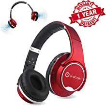 Woozik Twist Bluetooth Headphones Over-Ear 2 in 1 Foldable Twist-Out Speaker Wireless Headphone with NFC FM Radio/AUX/SD Card Sports Headband Headset-(Red)