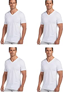 Men's V-Neck T-Shirts Classic Tag Free Cotton - Stay New Technology Stay White