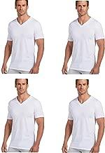 Jockey Men's V-Neck T-Shirts Classic Tag Free Cotton - Stay New Technology Stay White