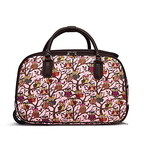LeahWard Women's Girl's Holdall Luggage Bag Hand Baggage Travel Suitcase Holiday School Bags 005 (S Pink OWL)