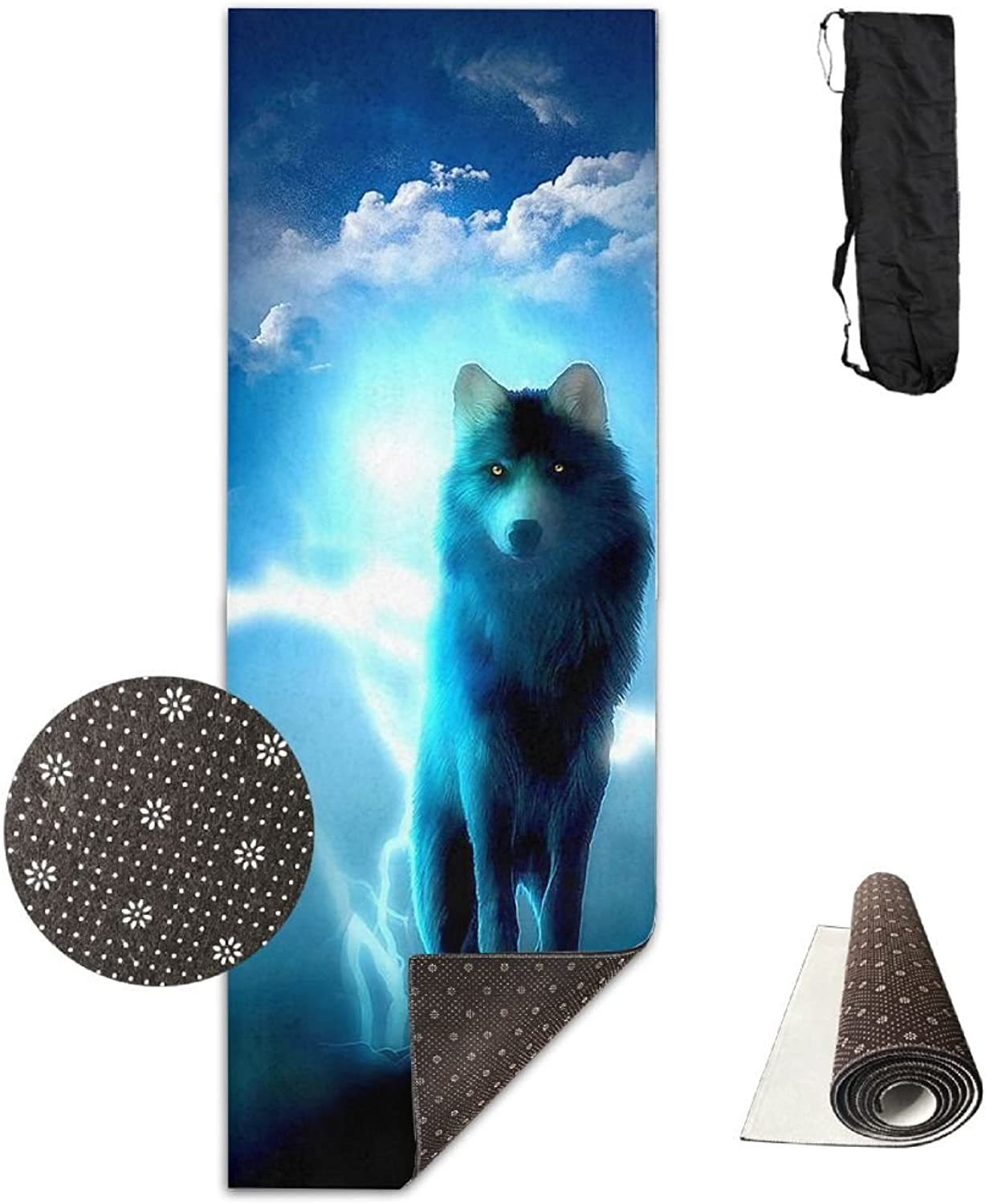 Gym Mat blueee Wolf Fitness High Density AntiTear Exercise Yoga Mat With Carrying Bag For Exercise,Pilates