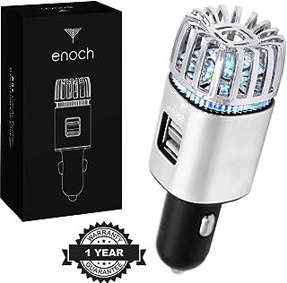 دستگاه تصفیه هوا Enoch با شارژر USB Car 2-Port. خوشبو کننده هوا اتومبیل بو ، گرد و غبار ، گرده ، باکتری ها را از بین می برد ، دود سیگار ، حیوان خانگی و بو را از بین می برد ، ازن یونی ، تسکین آلرژی - گلدن گل رز.