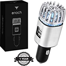 Enoch Car Air Purifier with USB Car Charger 2-Port. Car Air Freshener Eliminate Odor, Dust, Pollen, Bacteria, Removes Cigarette Smoke, Pet and Food Odor, Ionic Ozone, Relieve Allergy. Color-Silver