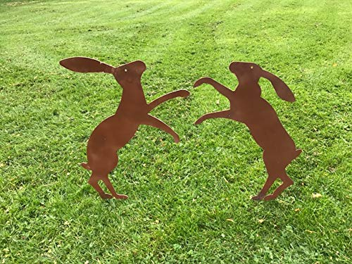 Fenland Boxing hares Ready 2 Rust Garden Silhouette (on spike/Rust)