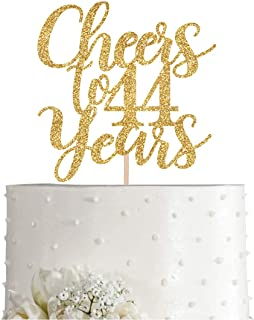 Gold Glitter Cheers to 44 years cake topper, Gold Happy 44th Birthday Cake Topper, Birthday Party Decorations, Supplies
