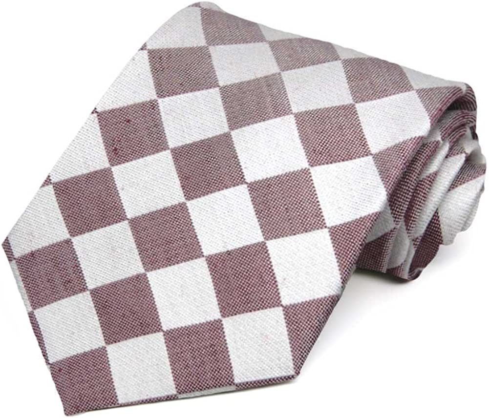 TieMart Regent Morris Neckwear Merlot and White Trooper Check Linen/Silk Necktie