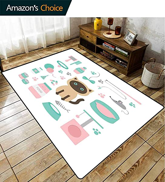 Cat Lover Striped Area Rug Mat Cartoon Style Surprised Looking Siamese Among Pastel Colored Cat Related Items Durable Carpet Area Rug Living Dinning Room Bedroom Rugs And Carpets 5 X 8