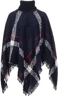 Ponchos Sweaters for Women Plaid Turtleneck Batwing Tassels Poncho Cape Womens Dress Gift Winter Knit Sweater Cloak