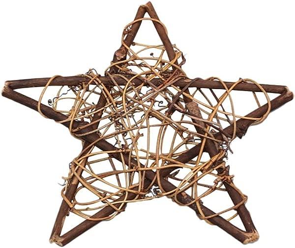 MoGist Christmas DIY Rattan Wreath Natural Rattan Creative Pentagram Garland For Door Wall Garden Wedding Christmas Decoration 20CM