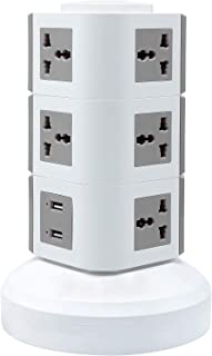 Universal Vertical Multi Socket 220V Electrical Tower Extension Outlet with USB Ports 3M Cord and UK-Plug Power Strip Multi Charging Station (3 Layers Multi Plug With USB Port, Gray)