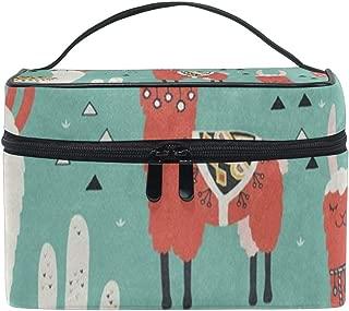 Toiletry Bag Cartoon Llamas And Cactus Womens Beauty Makeup Case Brush Cosmetic Organizer