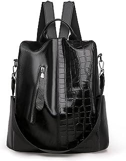 Wujianzzhobb حقيبة الظهر الرياضية ، حقائب الظهر العصرية للنساء ، حقيبة ظهر من جلد PU ، حقيبة كلية كبيرة السعة ، حقيبة ظهر ...