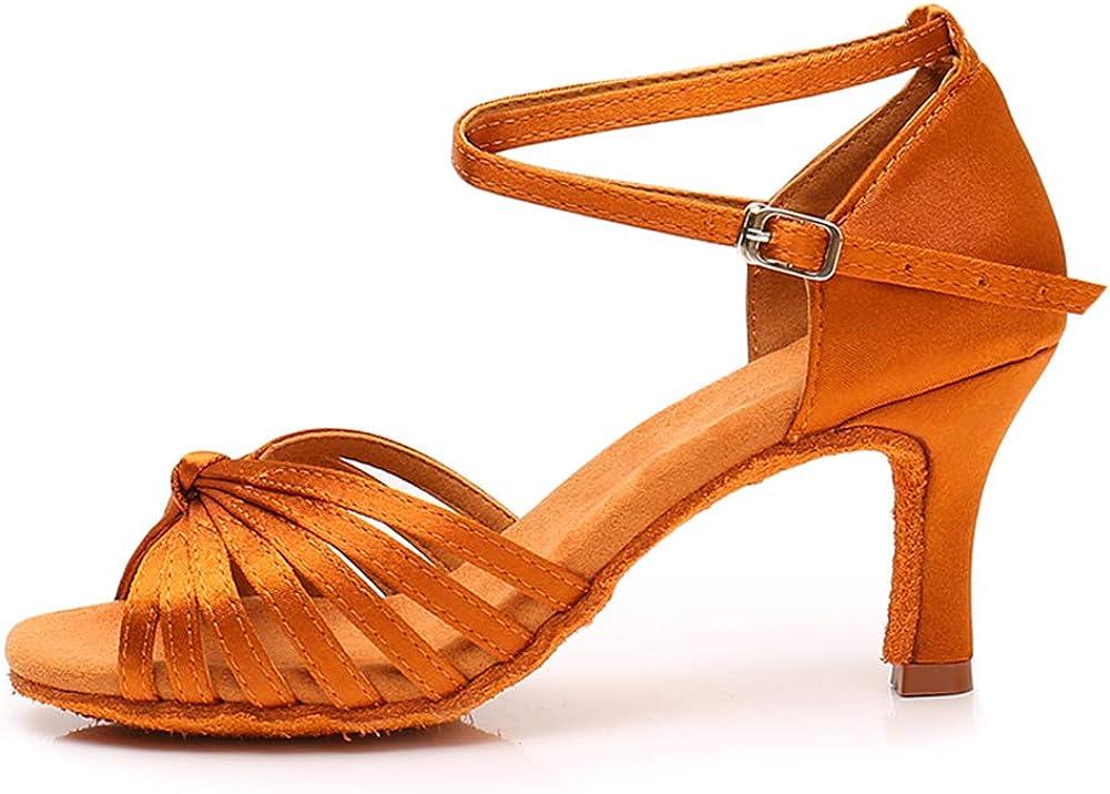 HROYL Women's Latin Dance Shoes Satin Professional Ballroom Sals
