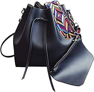 Women's PU Leather Drawstring Bucket Bag Crossbody Bag Shoulder Bag Purse With Colorful Strap