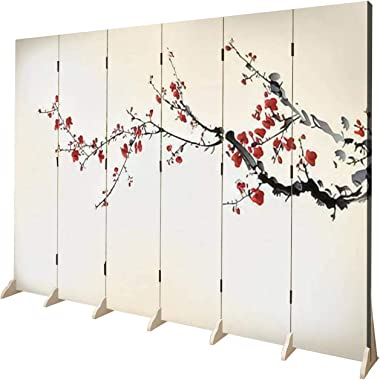 APED DECOR Wood Screen Room Divider Winter Sweet Folding Screen Canvas Privacy Partition Panels Dual-Sided Wall Divider Indoo