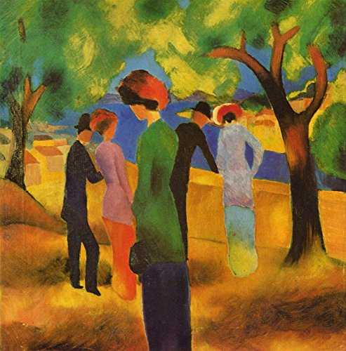 The Museum Outlet - Lady in een groene jas van August Macke, Stretched Canvas Gallery verpakt. 16 x 20