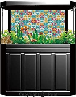 Aquarium Fish Tank Background,Quatrefoil Decor,Classic Fabric Pattern Monochrome Yellow Decorative Element Illustration Art Print,Decor Paper Green Water Grass Aquatic Style Like Real,W24.02