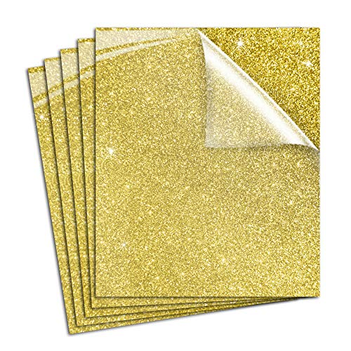 Pumpkin Brother Gold Glitter Heat Transfer Vinyl Iron On HTV Shiny Bundle for DIY Clothes, 12x10 Inch, Pack of 5 Sheets, Eco-Friendly Made in Korea for Cricut