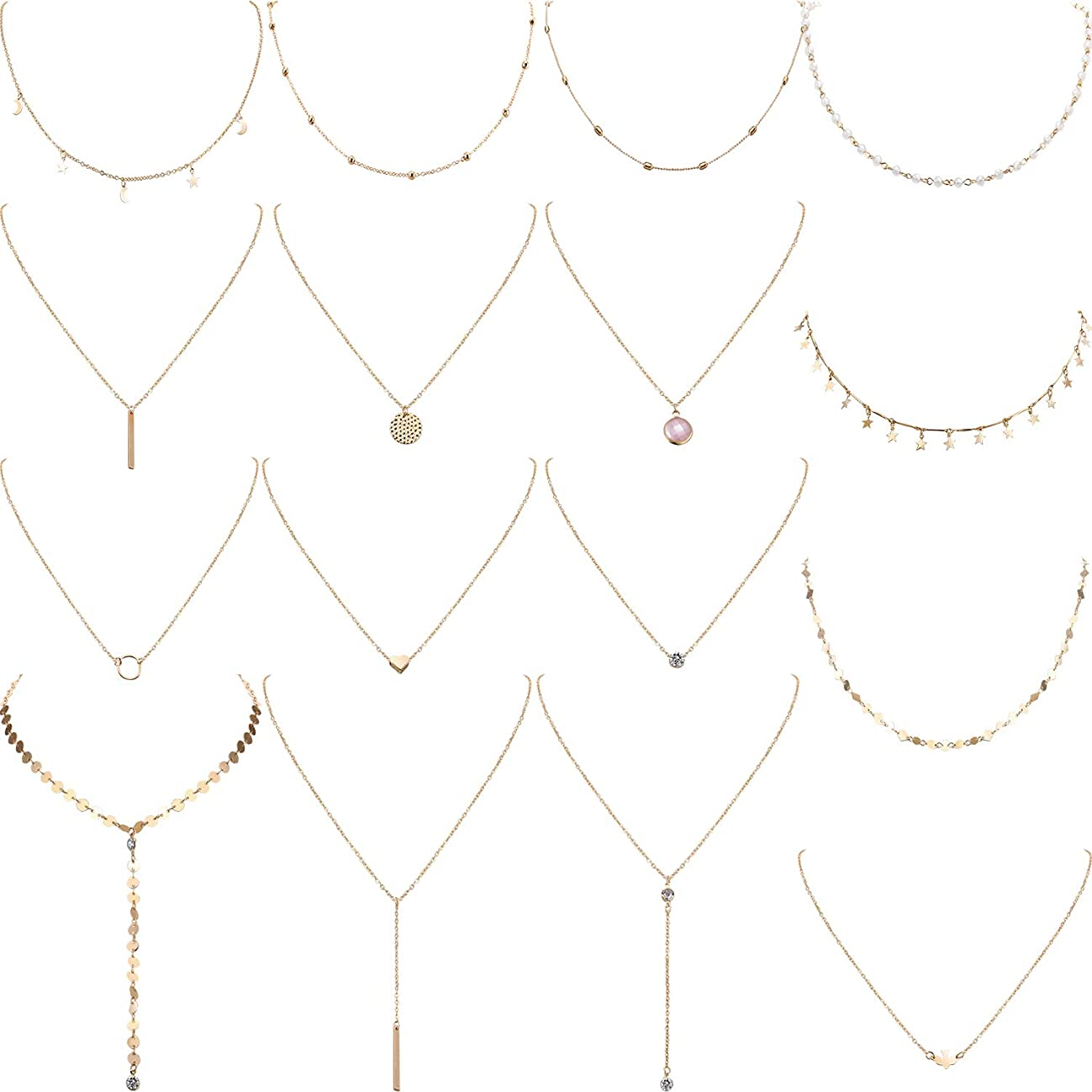 Yaomiao 16 Pieces Layered Choker Necklace Adjustable Pendant Necklace Moon Sequins Choker Multilayer Chain Necklace Set for Women Girls