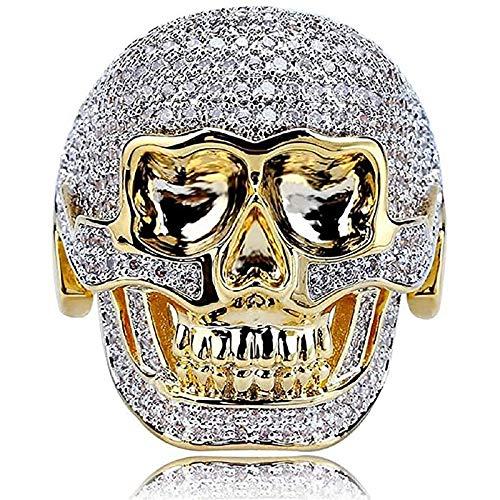 LH&BD Anillo de cráneo para Hombres Viking Head Crystal Cubic Cubic Zirconia Vampire Cóctel Partido Tótem Gold Totem Amuleto Punk Jewelry,7