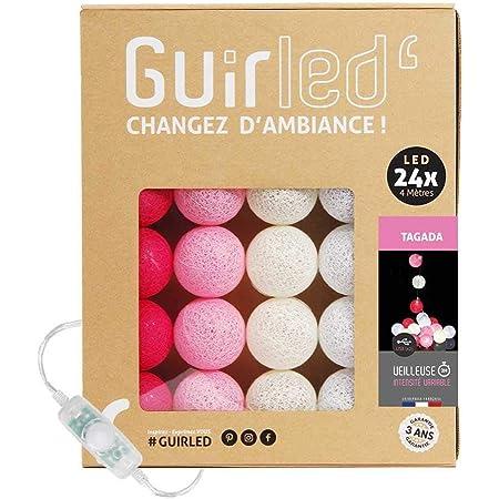 Guirlande lumineuse boules coton LED USB - Veilleuse bébé 2h - Adaptateur secteur double USB 2A inclus - 3 intensités - 24 boules 2.4m - Tagada