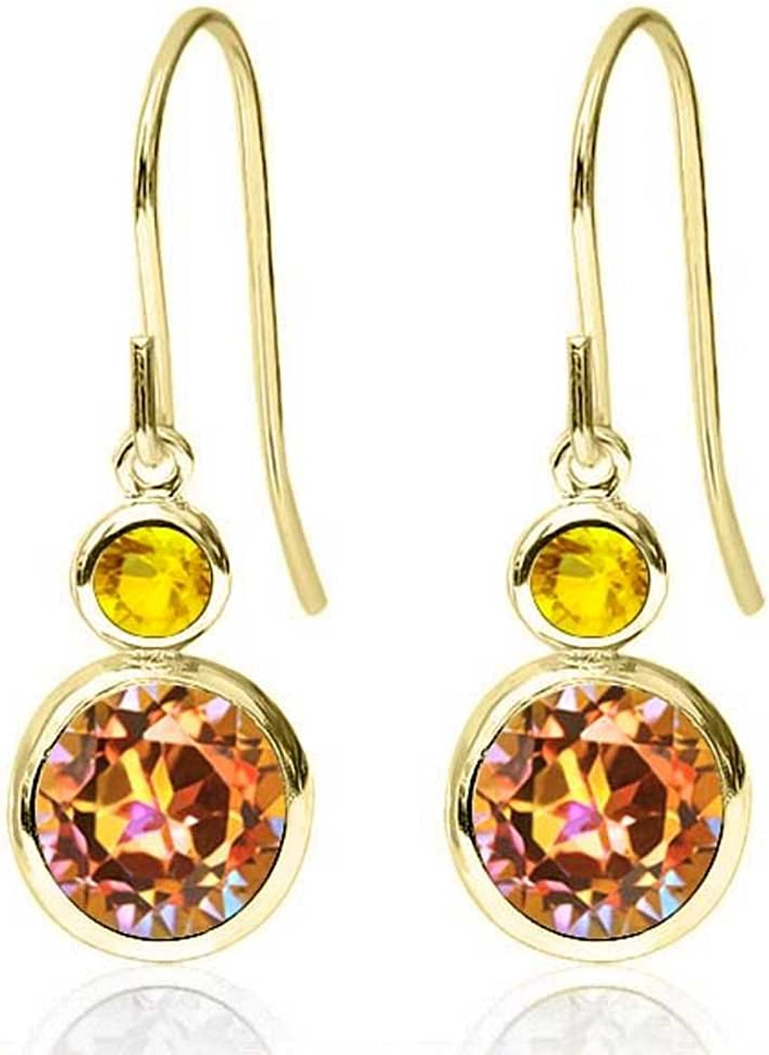 2.16 Ct Round Ecstasy Mystic Topaz Yellow Sapphire 14K Yellow gold Earrings