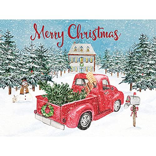 DIY 5D Diamond Painting Kits for Adults Kids, Cartoon Farm Truck Round Full Drill Crystal Rhinestone Diamond Paint Red Car Christmas Cross Stitch Arts Craft for Home Room Wall Decor 40x30cm/16x12in
