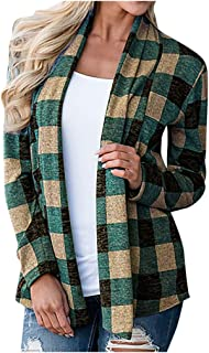 Winiter Women Cardigan Plaid Open Front Coat Kimono Fashion 2019 Casual Lightweight Long Sleeve Thin Outwear Tops 2XL