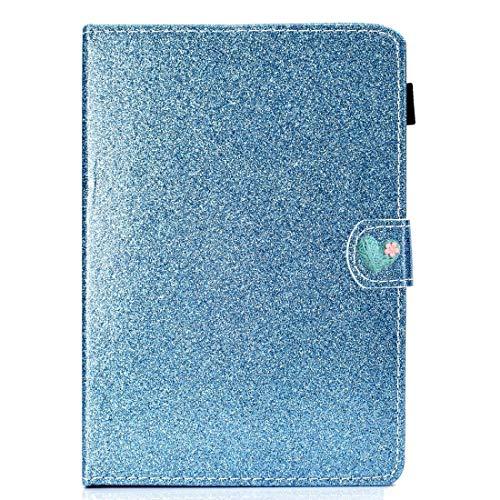 WEI RONGHUA Funda de piel con tapa horizontal para tablet de 10 pulgadas, universal, con purpurina, con hebilla de amor, horizontal, con soporte y ranuras para tarjetas, color azul