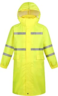 YUHANG Men's Long Raincoat High Visibility Reflective Waterproof Rain Jacket Reusable Safety Rain Poncho with Hood Hiking ...