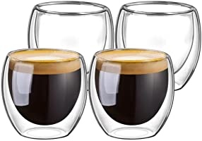 Double Walled Glasses for Espresso Coffee Turkish Tea, Espresso Coffee Cups 80 ml Set of 4 pcs